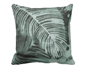 """SALE - OUTDOOR Tropical Leaves Print Throw Pillow Cover, Kale 20"""" Sq Pillow Covers, Batik/Watercolor Dark Sage Green Palm/Palms Frond Leaf"""