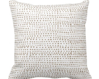 """OUTDOOR Dot Line Throw Pillow or Cover, Taupe/White Print 14, 16, 18, 20, 26"""" Sq Pillows/Covers Dots/Lines/Geometric/Geo/Modern/Farmhouse"""