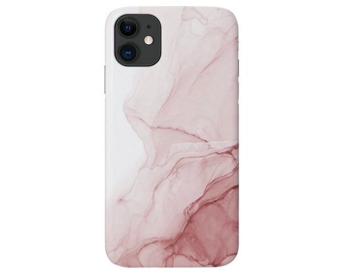 Rose Abstract iPhone 12, 11, XS, XR, X, 7/8, 6/6S Pro/Max/P/Plus Snap Case or TOUGH Protective Cover Dusty Pink Marble/Modern/Ombre Design