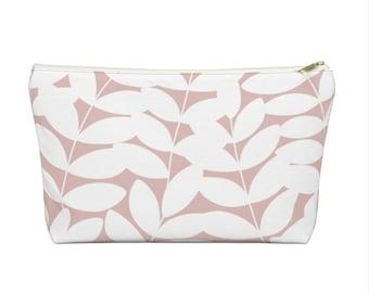 Stems Modern Botanical Print Zippered Pouch, Pink/White Cosmetics/Pencil/Make-Up Organizer/Bag, Blush Nature/Floral/Minimal/Leaves Pattern
