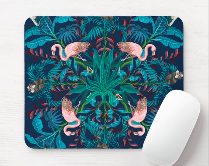 Tropical Scarf Print Mouse Pad, Colorful Tropical Mousepad, Pink, Deep Blue/Teal/Green Flamingo/Monkey/Monkeys Pattern, Palm Leaves/Trees