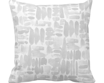 """OUTDOOR Brush Strokes Throw Pillow or Cover, Frost Gray 14, 16, 18, 20, 26"""" Sq Pillows/Covers Watercolor/Hand-Painted/Modern/Abstract Print"""