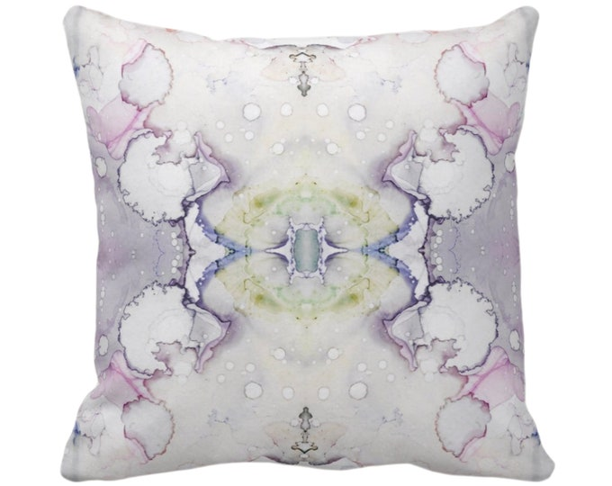 """Mirrored Watercolor Throw Pillow or Cover 14, 16, 18, 20, 26"""" Sq Pillows/Covers Abstract Modern/Minimal Light Purple/Gray/Gray Print/Design"""