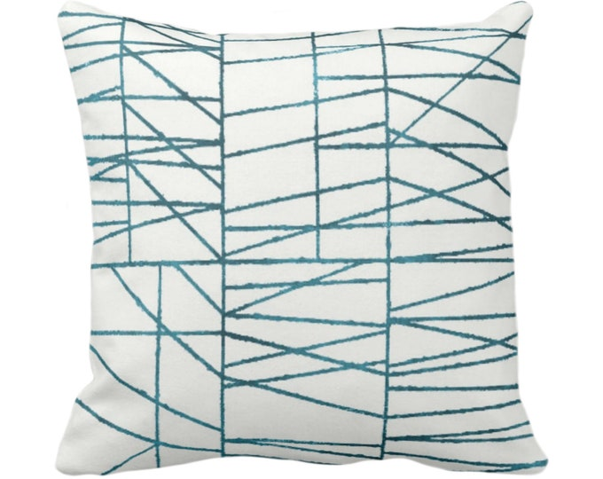 """OUTDOOR Teal Geo Print Throw Pillow or Cover 14, 16, 18, 20 or 26"""" Sq Pillows/Covers, Dark Blue/Green Painted Geometric/Abstract/Lines/Lined"""