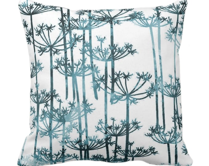 "Allium Throw Pillow or Cover Dusty Teal/White Print 14, 16, 18, 20, 26"" Sq Pillows/Covers, Modern Botanical/Leaves/Nature Farmhouse Pattern"