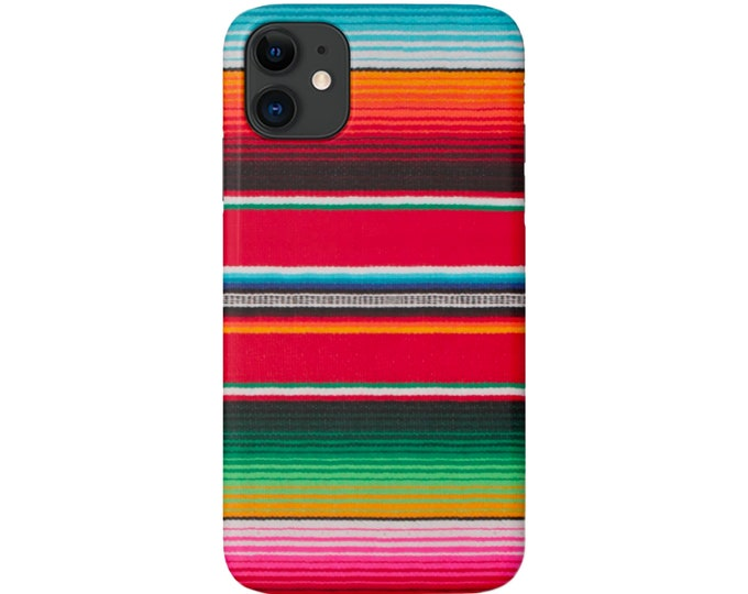 Serape iPhone 12, 11, XS, XR, X, 7/8, 6/6S P/Pro/Plus/Max Snap Case, Tough Protective Cover Colorful Stripe/Striped Mexican Pattern Galaxy