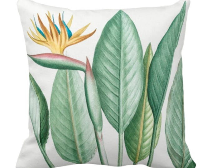 """OUTDOOR Vintage Botanical Bird of Paradise Throw Pillow/Cover, 14, 16, 18, 20, 26"""" Sq Pillows/Covers Green Leaves/Nature/Plant/Floral Print"""