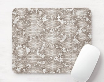 Taupe Snakeskin Print Mouse Pad/Mousepad, Minimal/Modern Snake/Animal Pattern, Neutral Toned Gray/Beige Muted/Subtle