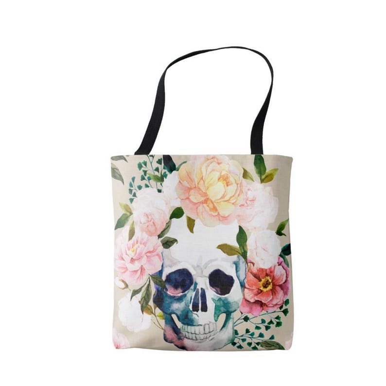 Vintage Floral Print Bag Pink Blue Peach Watercolor Skull with Flowers Market Tote Coral