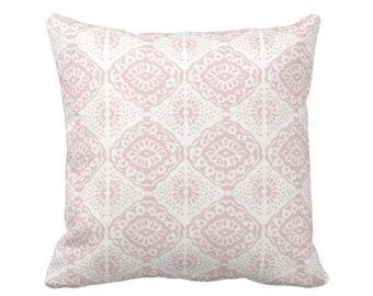 "OUTDOOR Block Print Medallion Throw Pillow or Cover, Pink/White 14, 16, 18, 20, 26"" Sq Covers, Blush Geometric/Tribal/Batik/Geo/Boho Diamond"