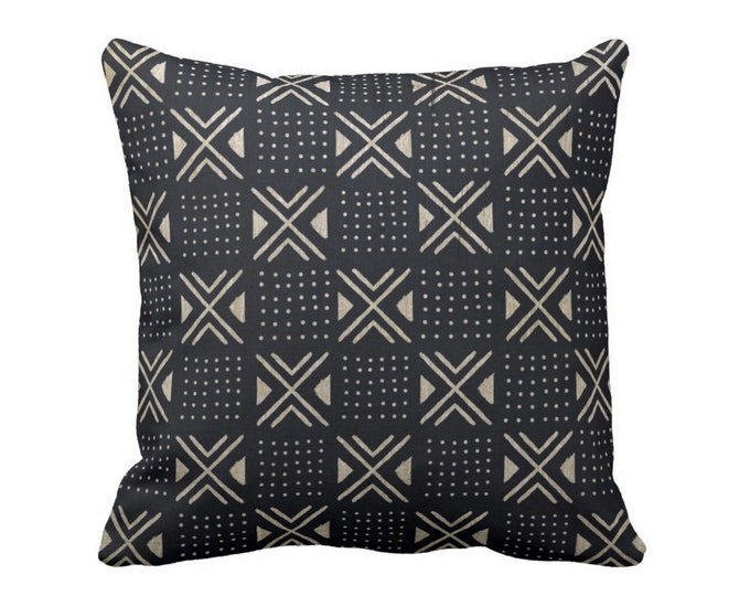 """Mud Cloth Printed Throw Pillow or Cover, X's/Dots Black/Off-White 14, 16, 18, 20, 26"""" Sq Pillows or Covers, Mudcloth/Geo/Boho/Tribal Print"""