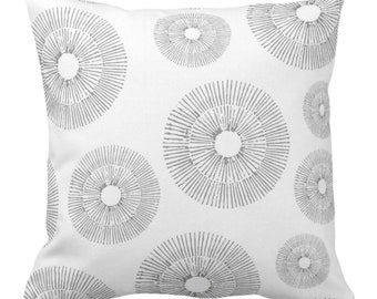 """OUTDOOR Abstract Urchins Throw Pillow/Cover Gray/White 14, 16, 18, 20, 26"""" Sq Pillows/Covers, Light Grey Modern/Starburst/Geometric Print"""