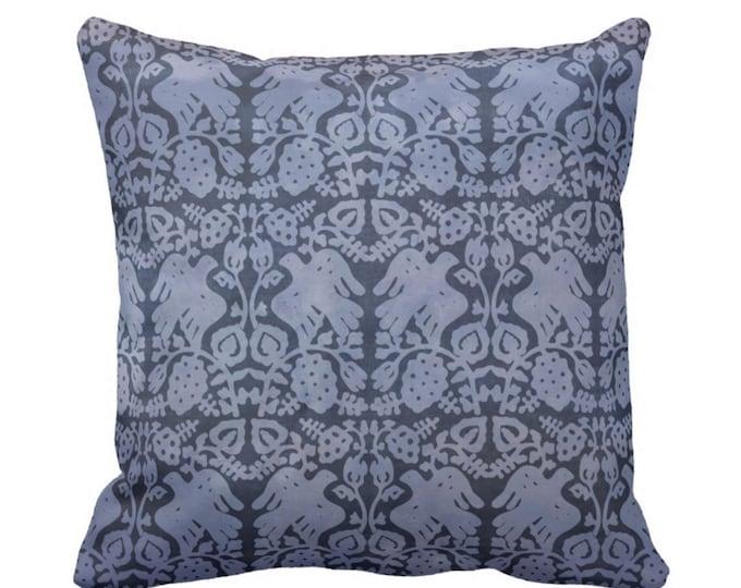 "Block Print Bird Floral Throw Pillow or Cover, Navy 14, 16, 18, 20, 26"" Sq Pillows or Covers, Dark Blue/White Blockprint/Boho Print"