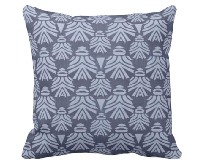 "OUTDOOR Block Print African Mask Throw Pillow or Cover, Navy/Indigo 14, 16, 18, 20, 26"" Sq Pillows/Covers, Dark Blue Tribal Blockprint/Boho"