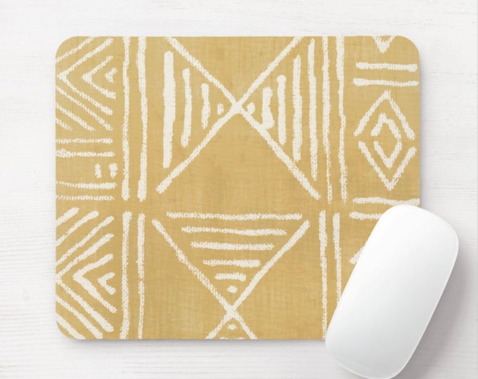 Mud Cloth Print Mouse Pad/Mousepad, Mustard & White Mudcloth/Tribal/African/Boho/Geometric/Geo/Diamond Pattern Neoprene Mousepads. Yellow