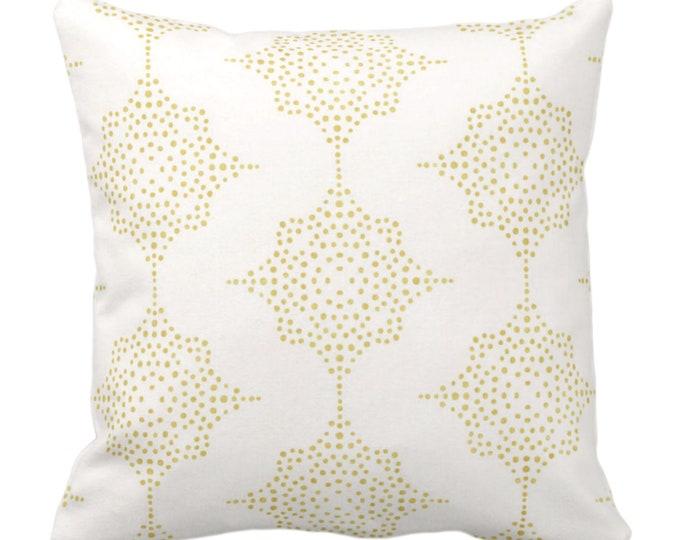 "Block Print Stars Throw Pillow or Cover, Mustard & Ivory 14, 16, 18, 20, 26"" Sq Pillows/Covers Golden Yellow Blockprint/Boho/Geometric/Geo"