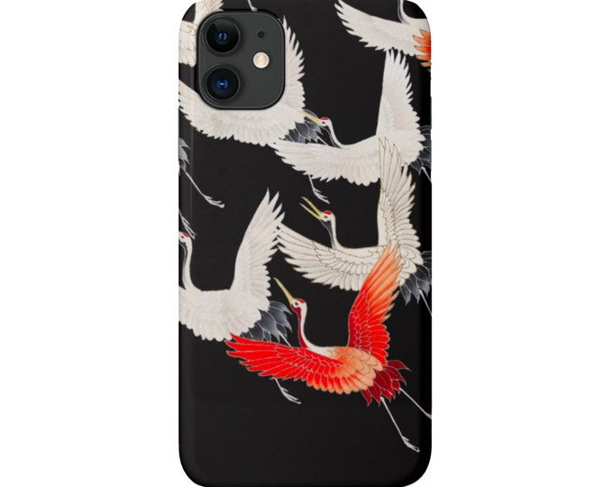 Cranes iPhone 12, 11, XS, XR, X, 7/8, 6/6S, Pro/Max/P/Plus Snap Case or Tough Protective Cover, Black/White/Red Birds/Nature Pattern Galaxy