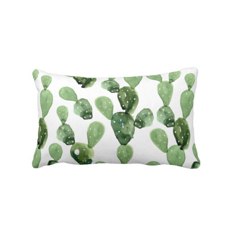 Green /& White 14 x 20 Lumbar PillowsCovers OUTDOOR Watercolor Cactus Throw Pillow or Cover SucculentSouthwestSucculents OliveSage