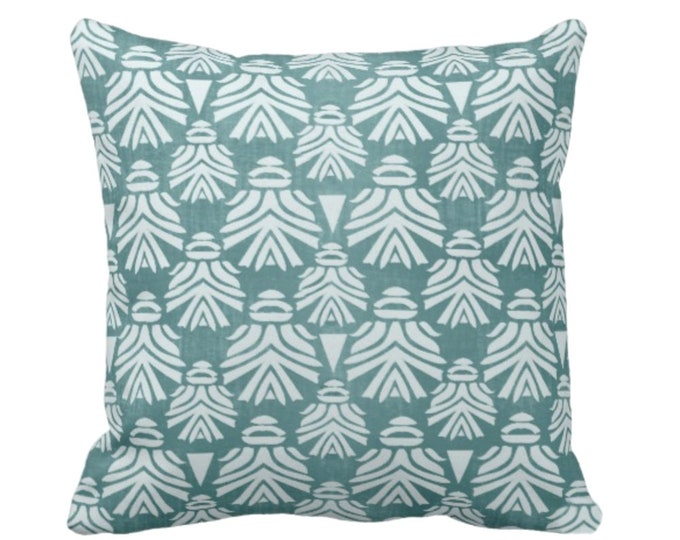 """OUTDOOR - READY 2 SHIP Block Print African Mask Throw Pillow Cover Only, 20"""" Sq Covers, Dark Blue/Green Tribal Blockprint/Boho Print"""