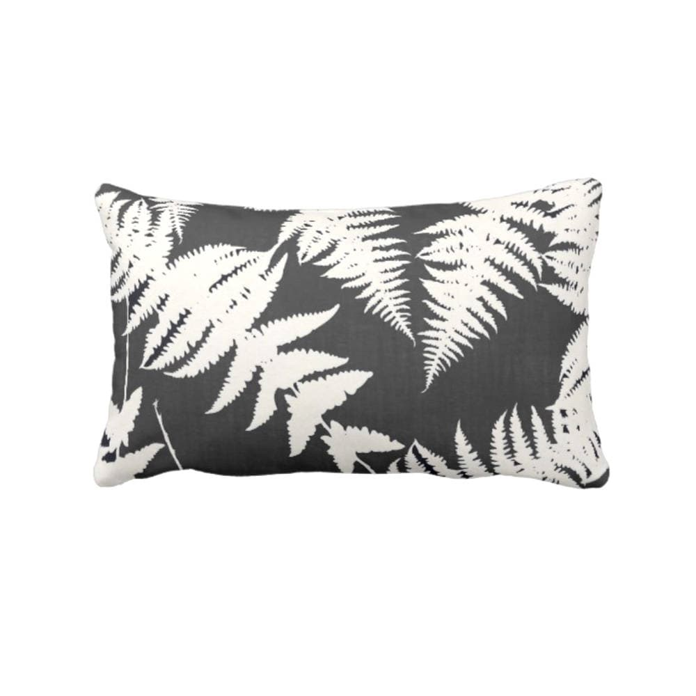 Fern Silhouette Throw Pillow or Cover, Charcoal/Ivory Print