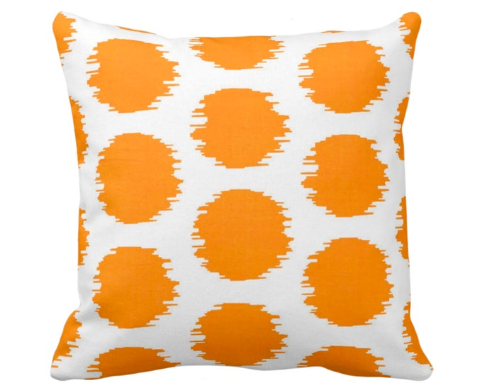 """OUTDOOR Ikat Dot Throw Pillow or Cover, Orange/White 14, 16, 18, 20, 26"""" Sq Pillows/Covers, Mellon Dots/Spots/Tribal Geometric Print/Pattern"""