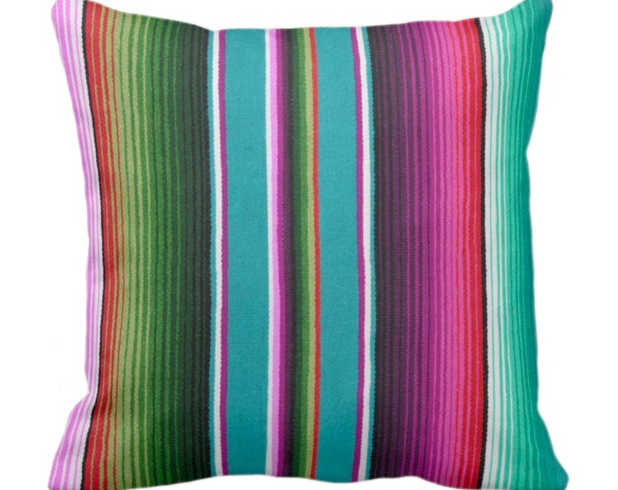 """OUTDOOR - READY 2 SHIP Serape Stripe Throw Pillow Cover Only, Printed Blanket/Rug Design 16 or 20"""" Sq Covers, Ombre/Rainbow/Colorful/Striped"""