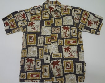 60df8403 Go Barefoot Palm Tree and Tribal Print Aloha Shirt