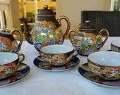 Vintage Japanese Moriage Satsuma Tea Set, Bone China Tea Pot With Four Cups and Saucers, Japan Immortal Satsuma Moriage Tea Set,