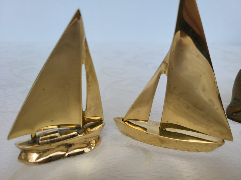 Vintage Brass Sail boats Miniature Metal Schooners Two Nautical Sailing Boats,