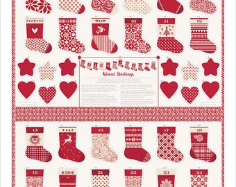 Moda MERRY MERRY Christmas stocking advent panel-ribbon red