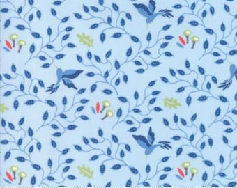 Moda BLOOMSBURY by Franny and Jane-floral hummingbirds light blue-(47513 15)-by the YARD