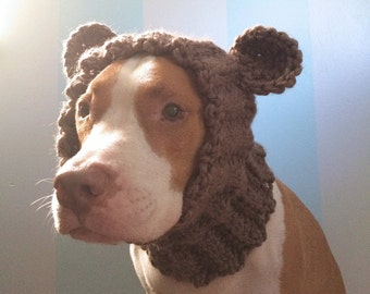 Dog Bear Cowl - Dog Winter Scarf - Dog Halloween Costume - Dog Hats for Dogs - Crochet Dog Clothes - Dog Ear Warmer - Dog Bear Hat