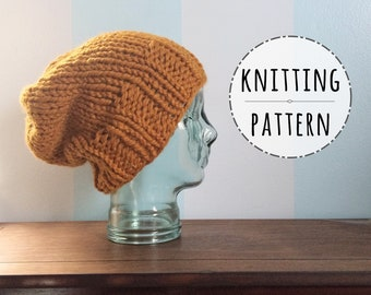 PATTERN Knit Chunky Beanie - Easy Knitting Patterns - Mens Beanie Pattern - Knit  Slouchy Beanie Pattern - Womens Beanie  9ee72f378c5e