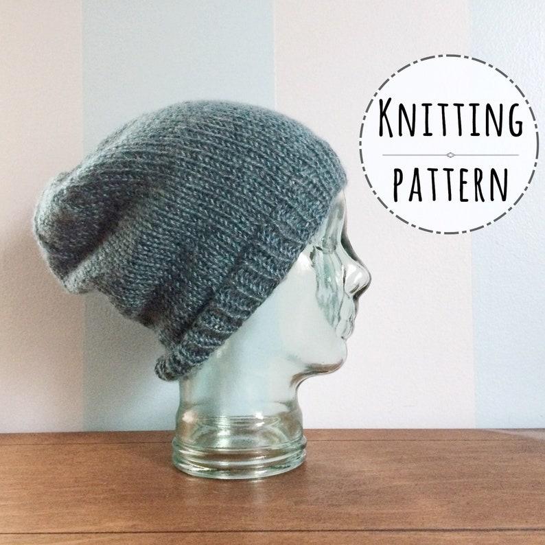 bfee6127d26 PATTERN Knit Slouchy Beanie Pattern Knitting Patterns Mens