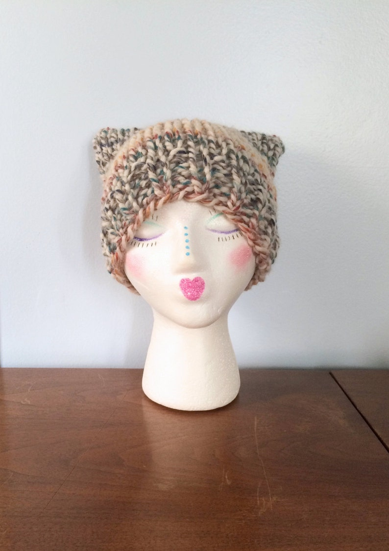 01b0b7333f4 Rainbow Cat Hat Poppy Pussy Hat Chunky Knit