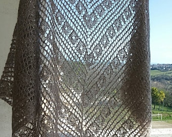 "Wollen, knitted shawl with paillettes ""Flying Leaves""- handmade"