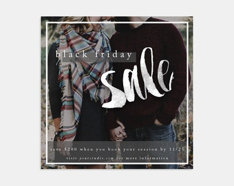 Sale Marketing Photoshop Template for photographers and small businesses - Black Friday Flyer - Social Media Marketing Template