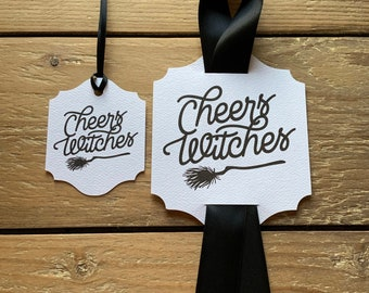 Cheers Witches Wine Tags & Tags, Halloween Tags