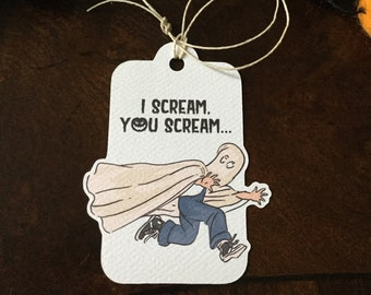 I Scream, You Scream Halloween Tag, Optional Cupcake Toppers,  Halloween Favor Tag, Halloween Treat Tag, Ghost Favor Tag