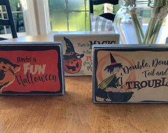 Vintage Halloween Mini Wood Block Decor, Shelf Sitter, Tiered Tray Decor, Vintage Shelf Sitter, Halloween Decor, You've Been Booed