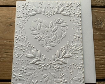 Set of 3 or 6 Soft White A2 Floral Heart Bouquet Greeting Cards, Floral Note Cards
