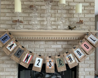 Back 2 School Lunch Bag Banner, Optional Back 2 School Lunch Bag Banner with Year