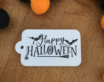12 Happy Halloween Treat Gift Tags, Personalized Halloween Gift Tags, Halloween Tags for Favors, Halloween Tags for Kids