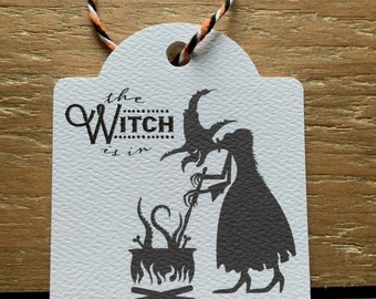 12 The Witch Is In Halloween Treat Gift Tags, Happy Halloween Gift Tags, Halloween Tags for Favors, Halloween Tags for Kids