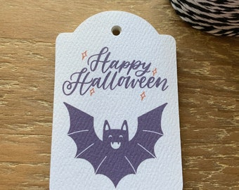 12 Happy Halloween Batty Treat Gift Tags, Halloween Gift Tags, Halloween Tags for Favors, Halloween Tags for Kids