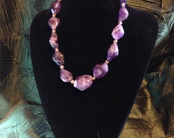 Large amethyst bead necklace with lavendar crystals