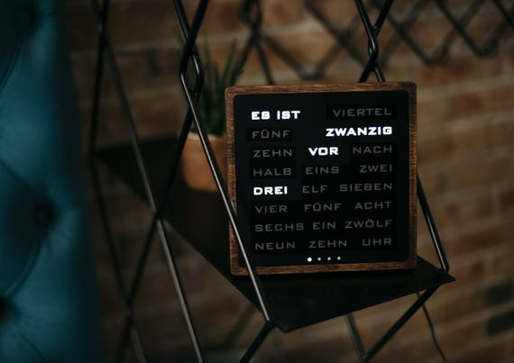 Word Clock German Wordclock Deutsch Uhr Led Clock Wood Electronic Clock Holzerne Uhr
