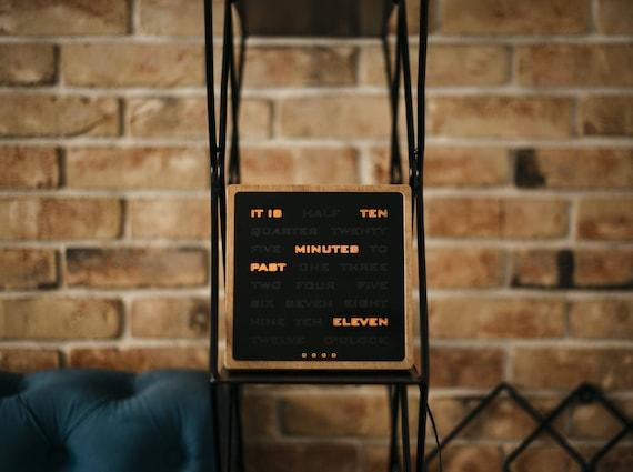 Word Clock Amber Led Clock Wooden Electronic Clock Modern Wood Clock Desk Clook Handcrafted Wood Clock