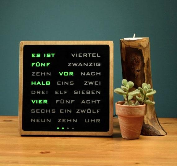 Multicolor Word Clock Rgb Led German Wordclock Deutsch Uhr Led Clock Wood Electronic Clock Holzerne Uhr
