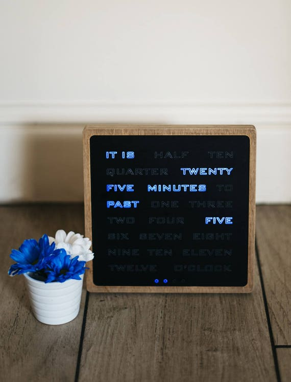 Word Clock Wood Electronic Clock Modern Led Wood Clock Blue Led Desk Clook Handcrafted Wood Clock